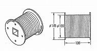 ドラム  2D メタルフランジ、黒色樹脂製巻取部、Φ120、有効巻取範囲:7.9m、PL,UM
