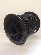 ドラム  2K 黒色樹脂製、深溝、Φ100、ダブルストッパー付、有効巻取範囲:5.1m、PL