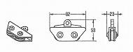 カーテン滑車  12A 片ロープ加工フィルム用、黒色樹脂製、PL