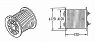 ドラム  2C 補修用(2K)割型ドラム、黒色樹脂製、Φ100、有効巻取範囲:5.1m、PL